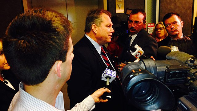 Smith answers questions from the media after his announcement in Jan. (Source: CBS 5 News)