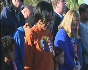 Marchers gather in prayer before the start (Source: CBS 5 News)