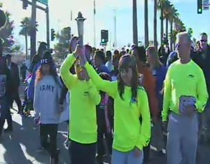 Runners from the morning torch run lead the way (Source: CBS 5 News)