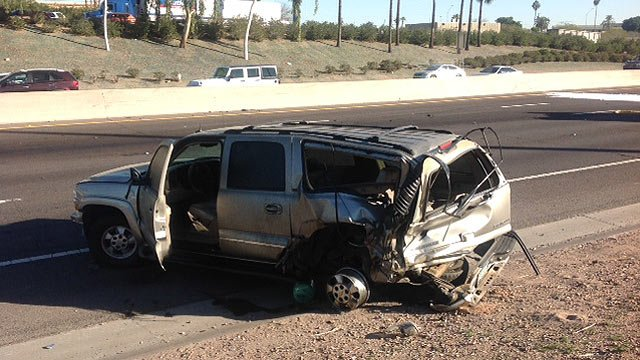 This SUV was one of six vehicles involved in the crash that closed I-17 for more than six hours. (Source: Phoenix Fire Department)