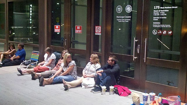 People began lining up about 2 a.m. Wednesday in the hopes of getting one of the few open seats available for the last day of testimony in the Jodi Arias murder trial.