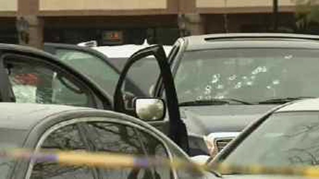Witnesses in the parking lot reported hearing as many as 12 shots.  (Source: CBS 5 News)