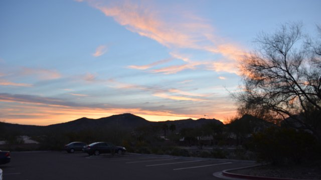 The morning sunrise from the trailhead of Telegraph Pass Trail on Desert Foothills Parkway where the hike started. (Source: Pat Lawlis)