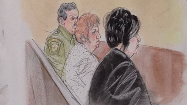 © Terry's mother, Josephine, is in the middle. The other woman is one of Terry's sisters. (Courtroom sketch by Maggie Keane)