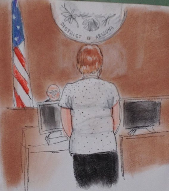 © Josephine Terry addresses the court. (Courtroom sketch by Maggie Keane)
