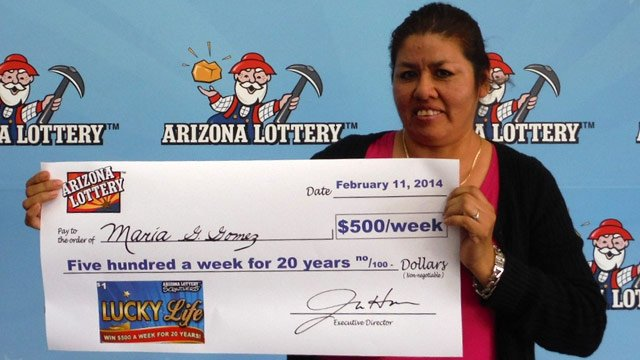 Maria Gomez purchased a $1 ticket and won $500 a week for 20 years. (Source: Arizona Lottery)