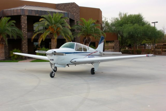 The flying club owns and operate a 2001 Cessna 172SP Skyhawk, a 1975 Cessna 182P Skylane and recently added a third aircraft, a 1960 Beechcraft B35-33 Debonair.  (Source: arizonacloudbusters.com)