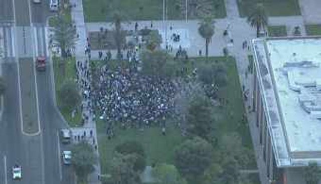 Protesters outside the state Capitol Monday evening. (Source: CBS 5 News)