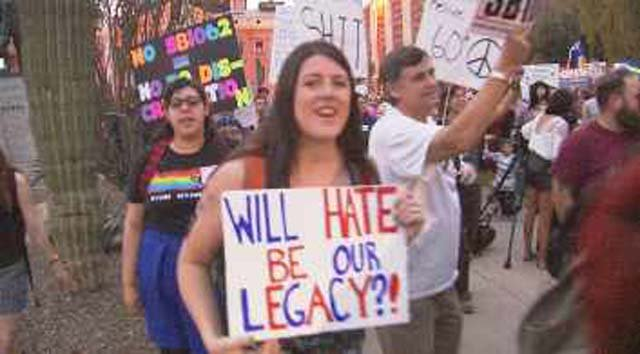 The bill triggered a national backlash from supporters of gay rights. (Source: CBS 5 News)
