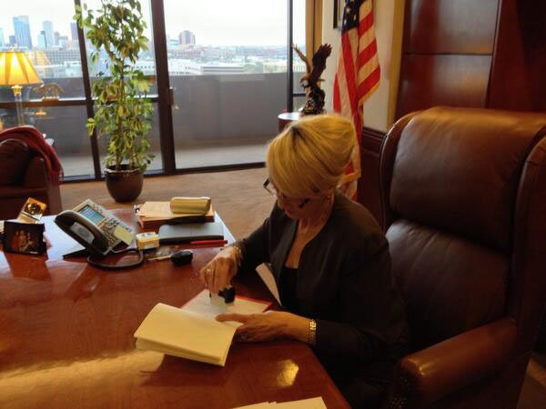 The governor's office tweeted this photo of the governor vetoing SB 1062. (Governor's Office)