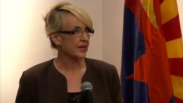 Gov. Brewer announces her veto of SB 1062 early Wednesday evening. (Source: CBS 5 News)