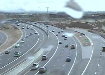 Rain drops on an ADOT camera in Phoenix. (Source: CBS 5 News)
