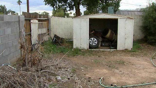 The boy was found near this shed, his clothes wet and without shoes. (Source: CBS 5 News)