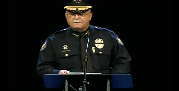 Phoenix Police Chief Daniel Garcia giving a eulogy at Detective John Hobbs' funeral service on Monday.