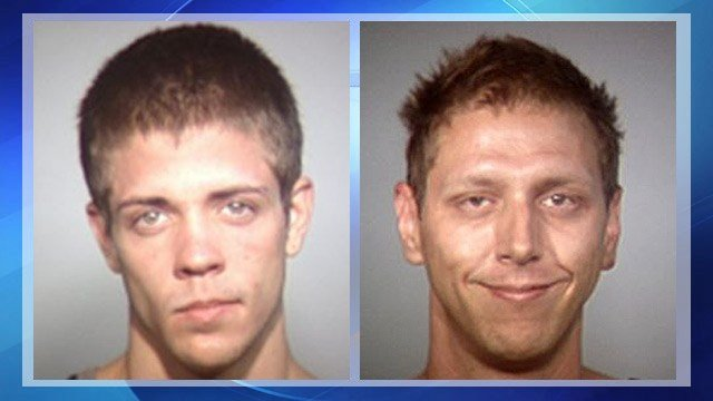 Chad Leakey, left, and Paul Gardener were arrested after they allegedly broke into an unmarked police car containing two uniformed Tempe officers.