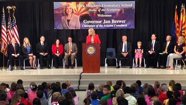 Arizona Gov. Jan Brewer announces she won't seek a third term Wednesday at Park Meadows Elementary School in Glendale. (Source: CBS 5 News)