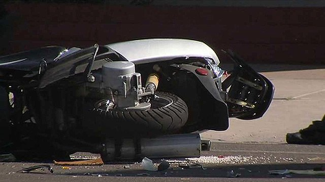 Mason Merrill was driving this scooter when he was struck and killed in Mesa by a driver police say is 15-years-old. (Source: CBS 5 News)