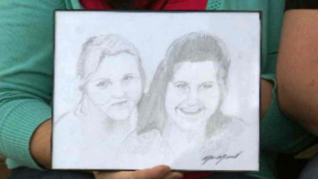 Mason Merrill learned to draw on an LDS mission and drew this picture of his sister and mother. (Source: CBS 5 News)