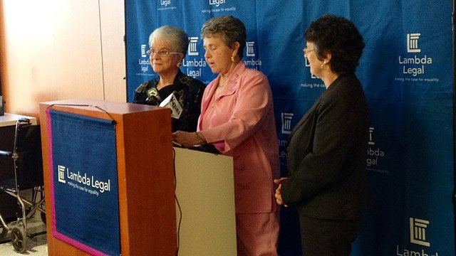 Nelda Majors, center, and her partner, Karen Bailey, left, speak about their love and the struggle of being parents while not being able to be married. (Source: CBS 5 News)