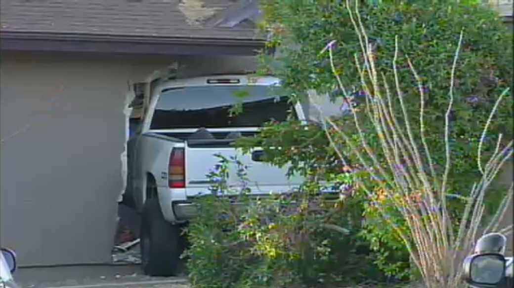 A stolen pickup truck slammed into the bedroom wall of this Mesa home early Thursday morning. No one was hurt.