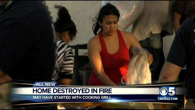 House fire displaces a family of four in Mesa. (Source: CBS 5 News)