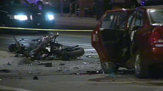 A motorcyclist died after slamming into this car at a Mesa intersection Thursday night.