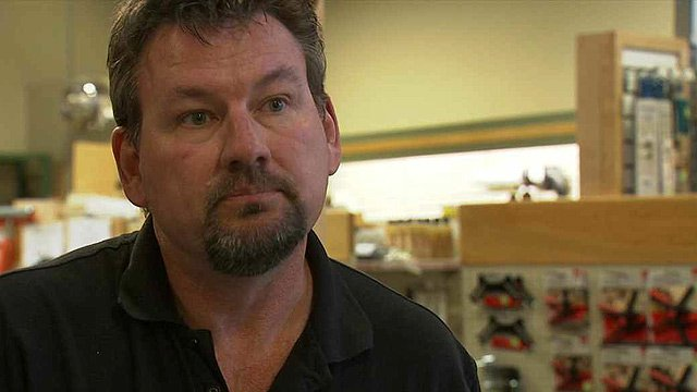 John Porter said he fears the president's push to raise the minimum wage to $10.10 an hour could mean he would have to lay off workers at Woodworkers' Source. (Source: CBS 5 News)