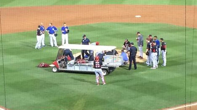 Reds closer Aroldis Chapman crumbled to the ground. (Source: Twitter/Reds Beat Reporter)