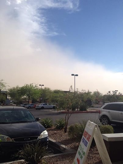The wall of dust rolled up into the Valley, hitting East Mesa and Apache Junction. (Source: CBS 5 viewer Fernanda Belen Lorca)