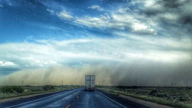 The dust storm passed over Interstate 10 near Riggs Road. (Source: Viewer Karen Calcagno)