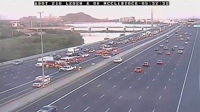 An abandoned vehicle was struck by another vehicle on Loop 202 near Tempe on Monday morning.