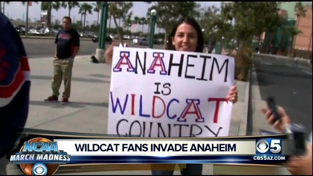 Arizona Wildcats fans in Anaheim. (Source: CBS 5 News)