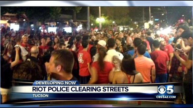 Tucson rioting after Wildcats game.
