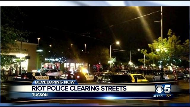 Tucson police shot pepper spray.