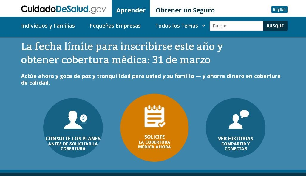 Healthcare.gov Spanish counterpart