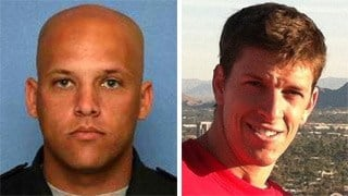 Phoenix police Officer Daryl Raetz, left, and Firefighter Bradley Harper died in separate incidents over the weekend.