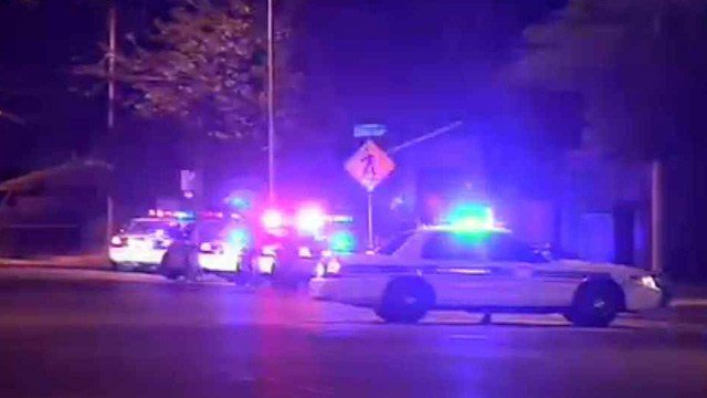 Glendale police investigate the scene of a double shooting Tuesday night.