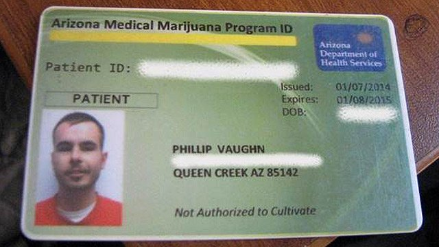 Deputies said Vaughn used this identification card to purchase the pot at shops in and around San Tan Valley. (Source: Pinal County Sheriff's Office)