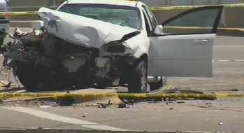 A pregnant woman who was a passenger in this car has died. (Source: CBS 5 News)