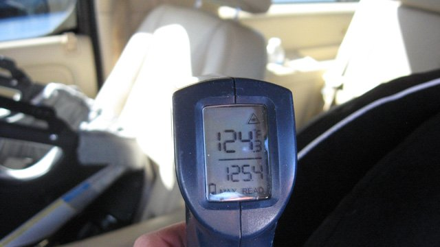 The interior temperature of the vehicle was measured at 124 degrees. (Source: Tempe Police Department)