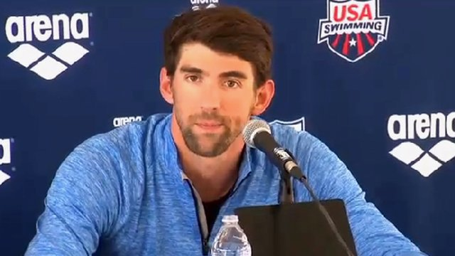 Michael Phelps speaking at a news briefing in Mesa Wednesday afternoon. (Source: CBS 5 News)