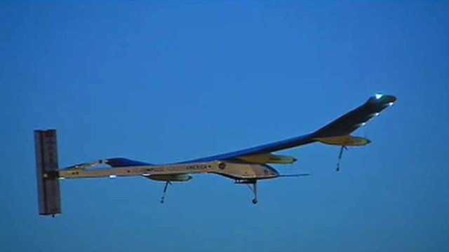 Solar Impulse, a solar-powered plane, left Phoenix Wednesday morning on the second leg of its journey across the U.S.