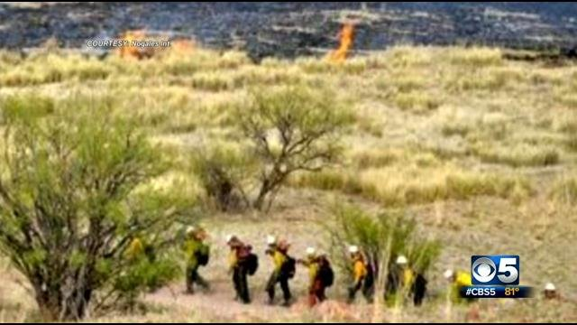 Lightning struck the area twice, igniting the wildfire. (Source: Nogales International)
