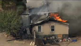 Fire consumes a mobile home in Sun City West. (Source: CBS 5 News)