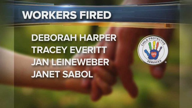 A list with the names of four of the five fired CPS workers. Michelle Parker is the fifth. (Source: CBS 5 News)