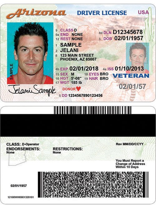 Front and back of new driver's license (Source: ADOT)