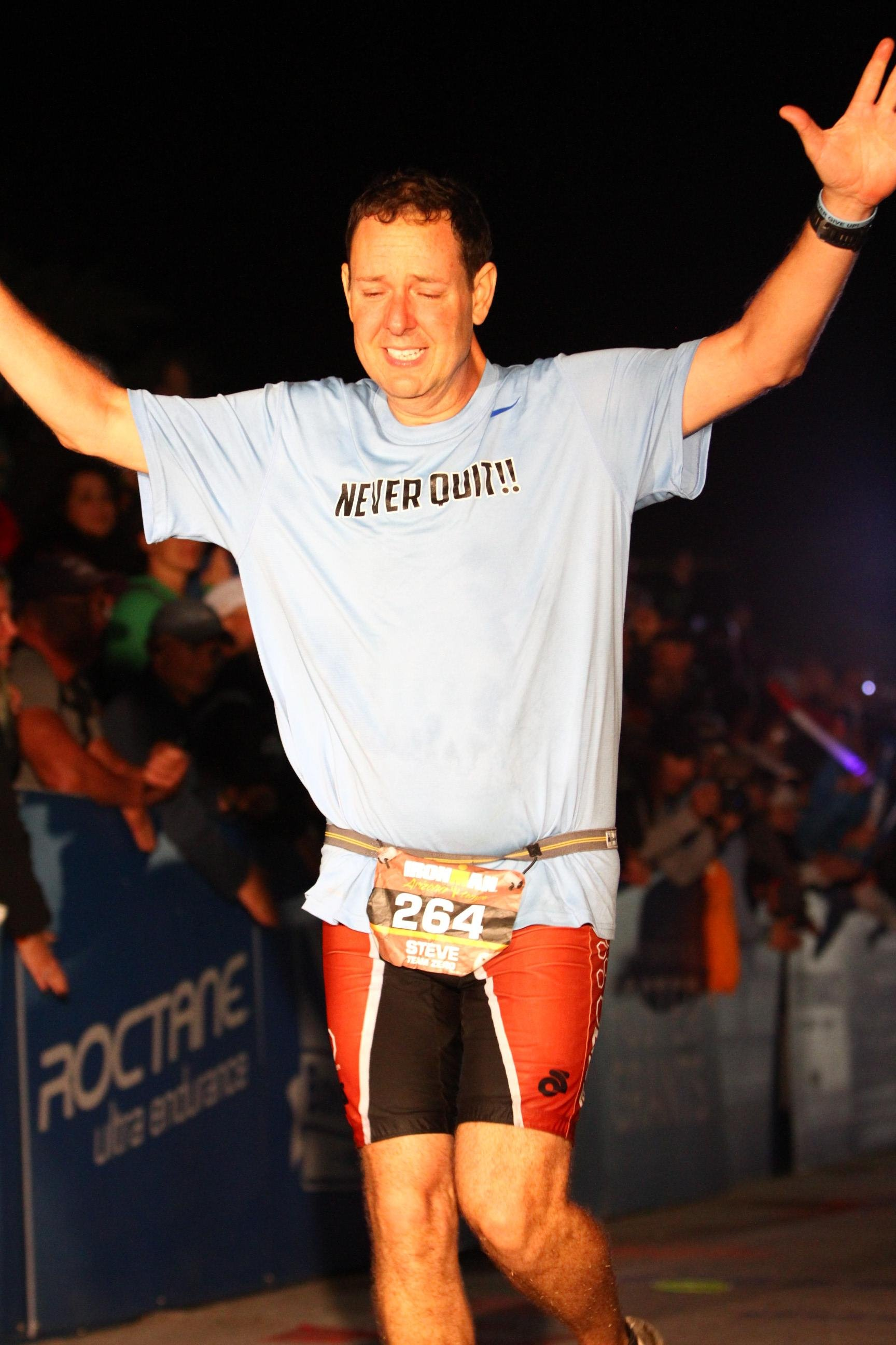Cooper competing in Ironman while undergoing radiation therapy