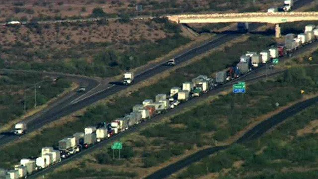 There was a considerable traffic backup on the main route to California. (Source: CBS 5 News)