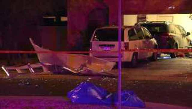The blast ripped the garage door off its hinges. (Source: CBS 5 News)