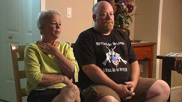 Barbara Snyder, with her son, Michael, said the Phoenix VA Medical Center hastened her husband's death. (Source: CBS 5 News)